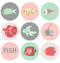 tropical fishes icon vector image