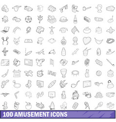 100 amusement icons set outline style vector