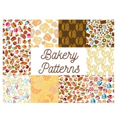 Bakery and patisserie desserts patterns vector image vector image