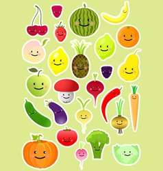 collection of funny vegetables and fruit vector image vector image
