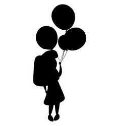 girl silhouette and balloons vector image