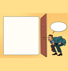 man peeping in the keyhole vector image