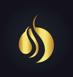 Round wave gold logo vector