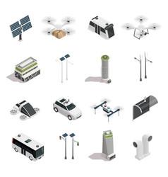 Smart city technology isometric icons set vector