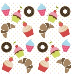 Background with cupcakes donates and croissants vector image vector image