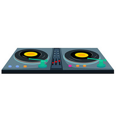 Disc jockey machine with two music disks vector image vector image