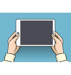 Hands holding tablet computer vector image vector image