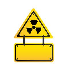 metal emblem warning radiation notice sign vector image