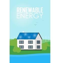 Renewable energy banner Solar panels on house vector image vector image