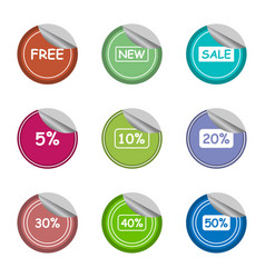 salenewfreeand percentage sticker label set vector image