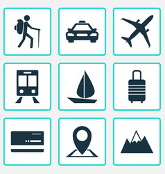 traveling icons set collection of boat land vector image vector image