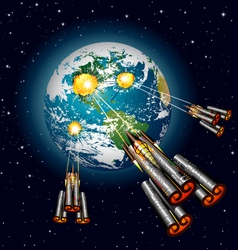 alien spaceships attacking earth vector image vector image