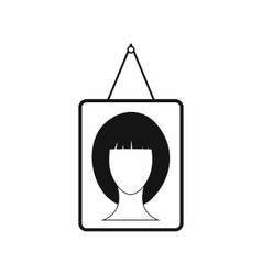 Portrait of a woman in a frame icon simple style vector image