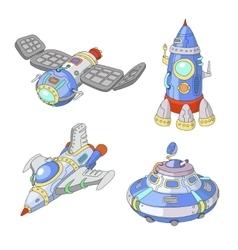 Spaceship and UFO cartoon set Rocket vector image vector image