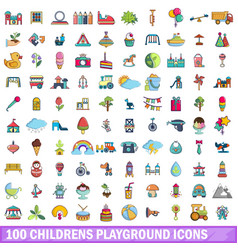 100 childrens playground icons set cartoon style vector