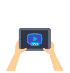 360 degrees video player icon on tablet screen vector