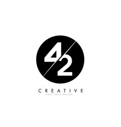 42 4 2 number logo design with a creative cut and vector