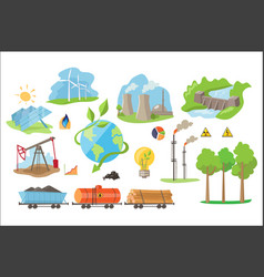 Alternative electricity production icons vector