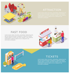 amusement park web banner template set vector image