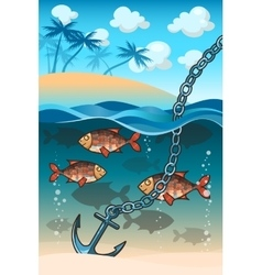 Anchor in the water near tropical island vector image