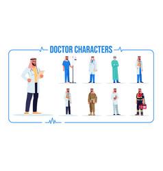 Arab doctor semi flat rgb color set vector