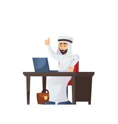 arabian businessman gesturing thumb up vector image