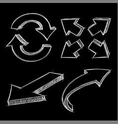 Arrows white hand drawn sketch on black vector