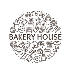 bakery signs round design template thin line icon vector image