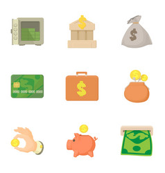 Bank and money icons set cartoon style vector