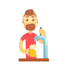Bartender man character standing at the bar vector