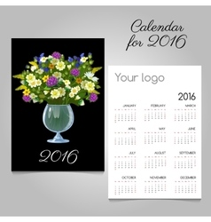 Black calendar 2016 with a bouquet in a glass vase vector