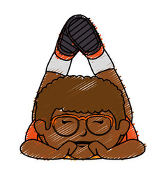 black little boy with glasses character vector image vector image