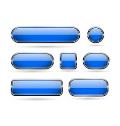 Blue glass buttons with chrome frame 3d icons vector