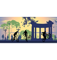 Boys on bicycles vector image vector image