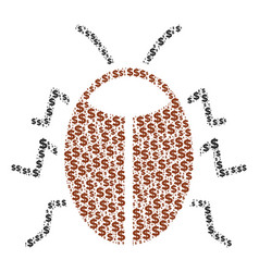 Bug collage of dollar and dots vector
