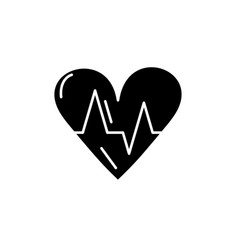 cardiology black icon sign on isolated vector image