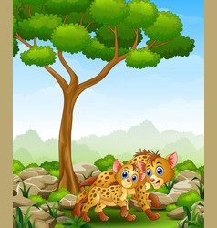 Cartoon adult hyena and cub hyena in the jungle vector
