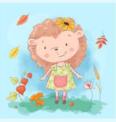 cartoon cute hedgehog and autumn leaves vector image