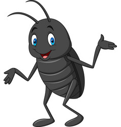 Cartoon happy black beetle vector