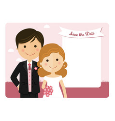 cartoon wedding invitation with a pink sky vector image