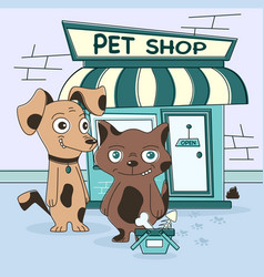 Cat and dog shopping vector