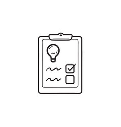 checklist with light bulb hand drawn outline vector image
