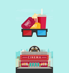 Cinema building flat style movie theater vector