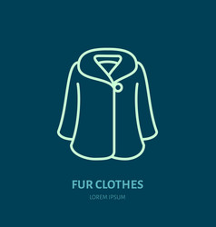 coat icon fur clothing shop line logo flat sign vector image