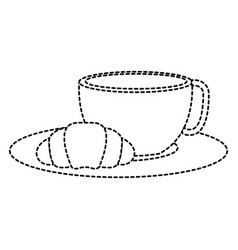 coffee cup hot with bread vector image
