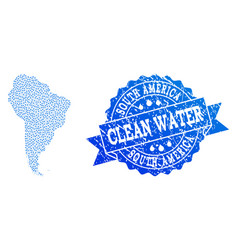 collage map of south america with water dews and vector image