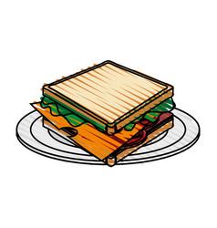 Color crayon stripe cartoon bread sandwich in vector