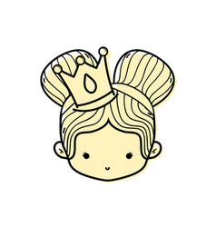 Color girl head with crown and two buns hair vector