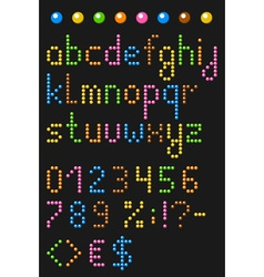 Colorful beaded lowercase english alphabe vector