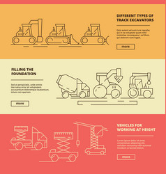 construction machinery banners building industry vector image